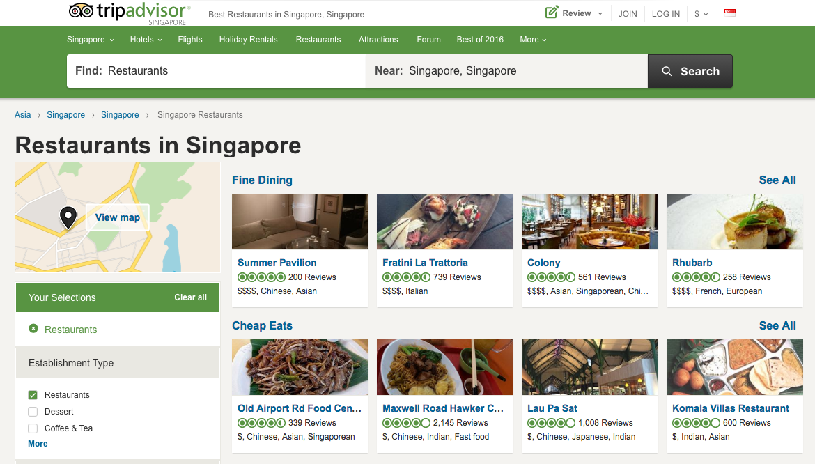 Trip advisor best palces to eat in Singapore