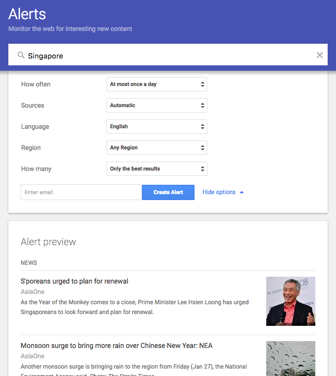 Google alerts for ideas on content marketing