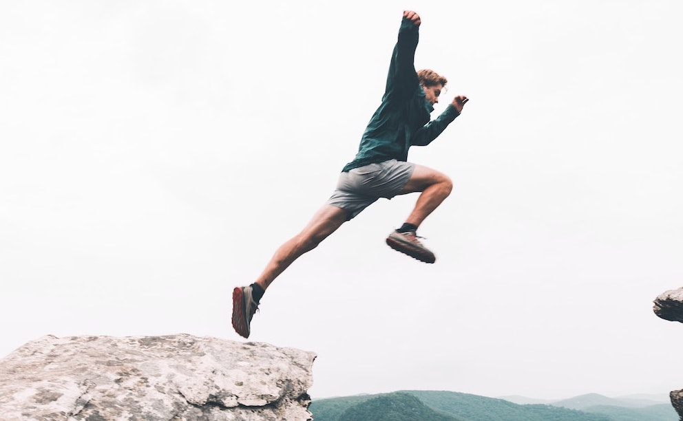 jumping across barrier
